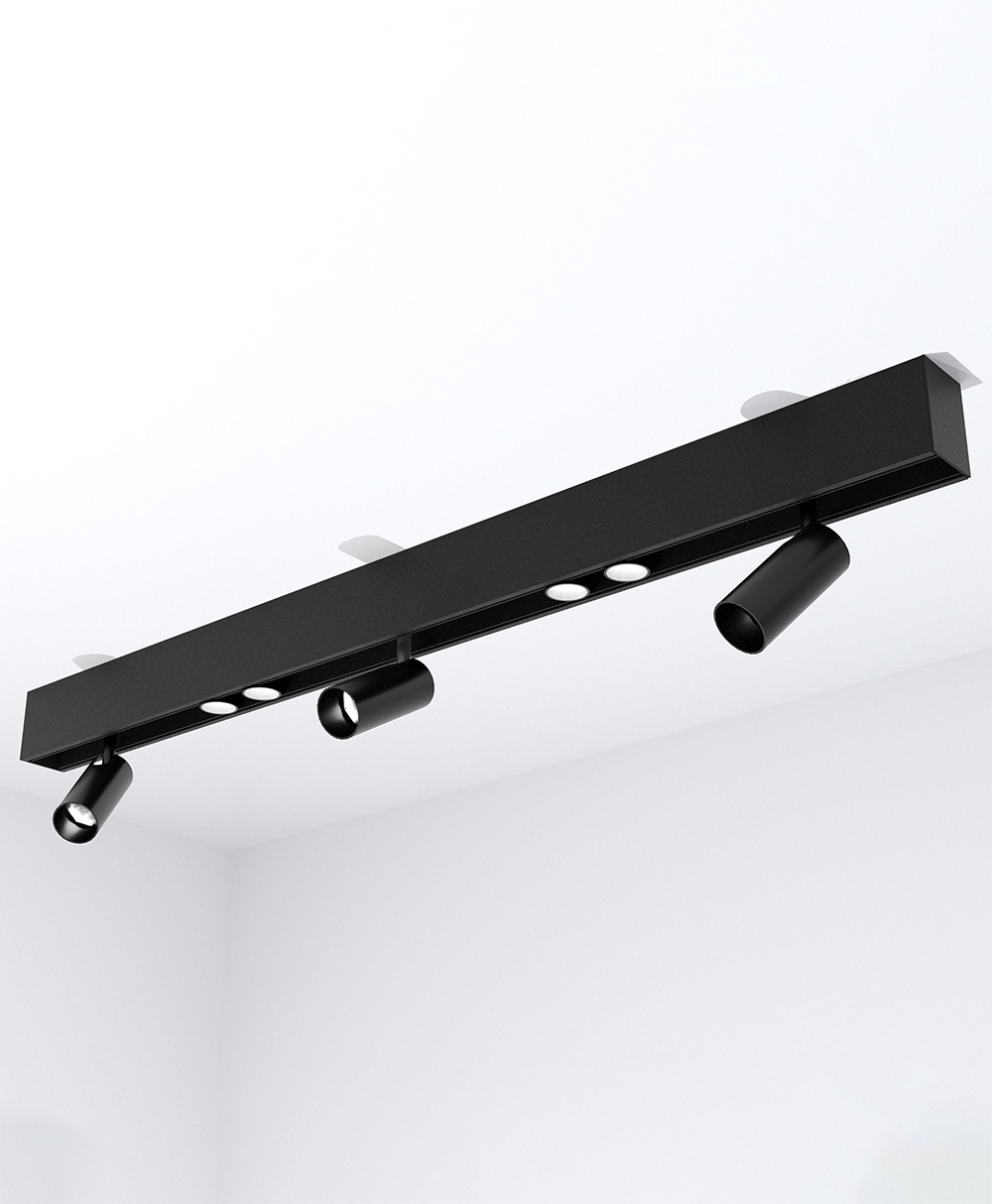 3' Surface-Mount KLICK Track with 3 Adjustable Spotlights and 2 Double Spots, 2550 Lumens, 3500K
