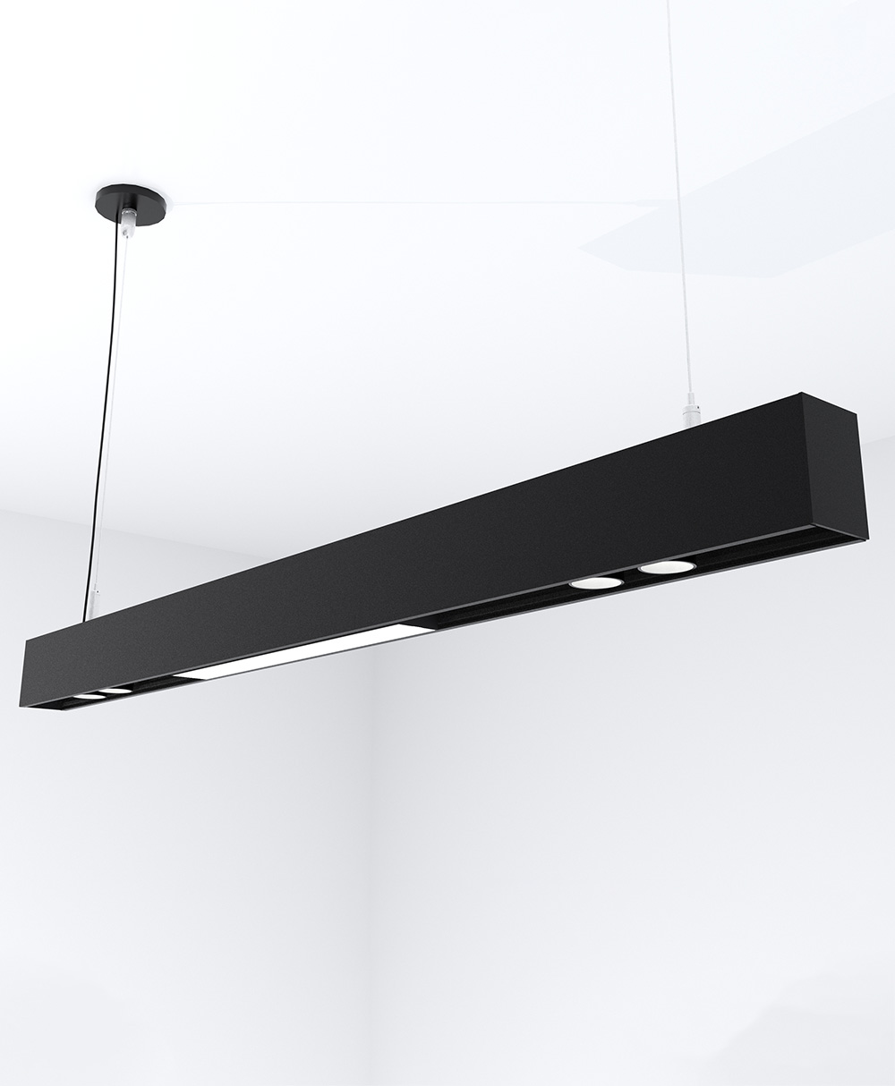 3' Pendant KLICK Track with 2 Double Spots and 1 Solid Lightbar, 2550 Lumens, 3500K