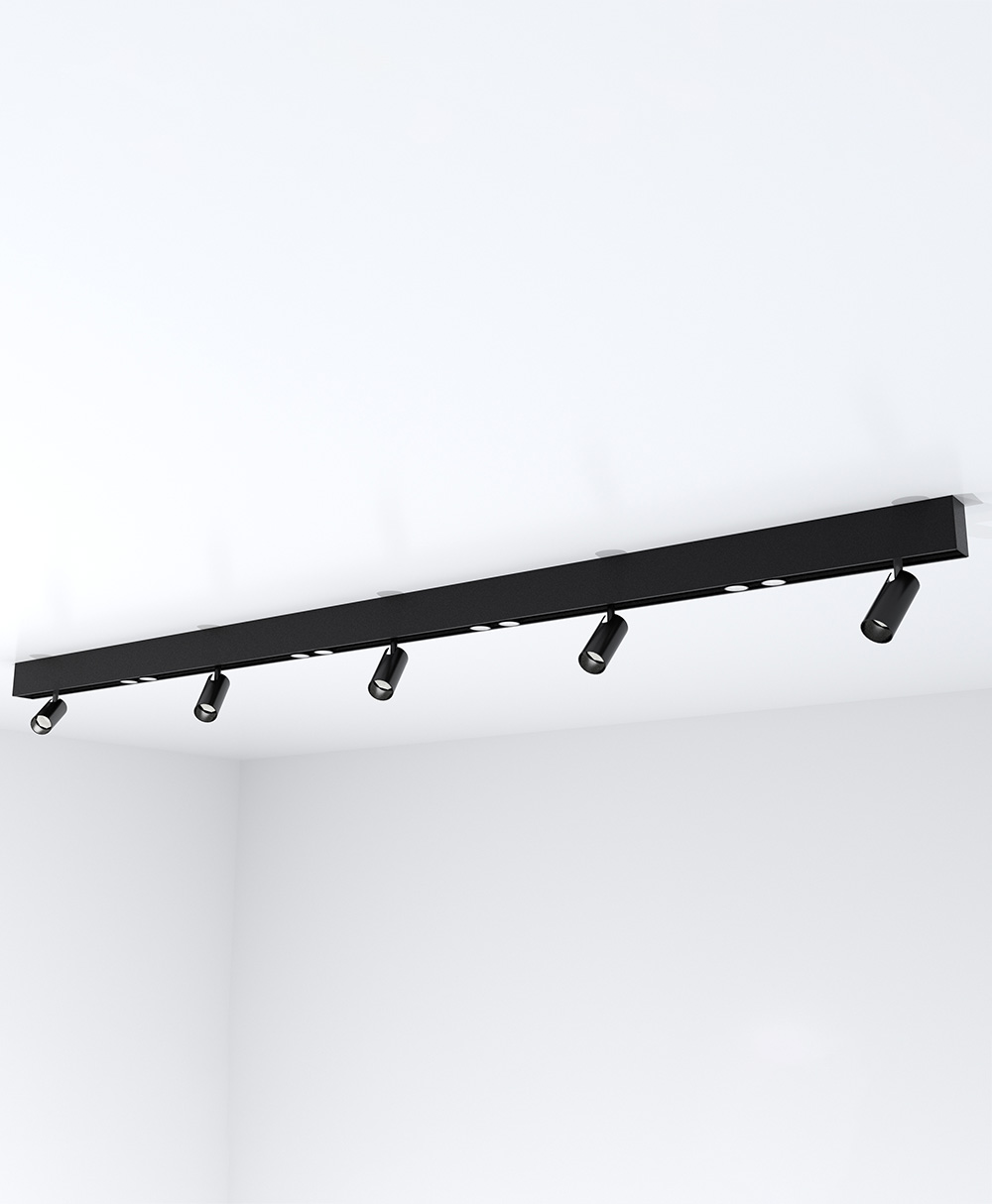 6' Surface-Mount KLICK Track with 5 Adjustable Spotlights and 4 Double Spots, 4550 Lumens, 3500 K