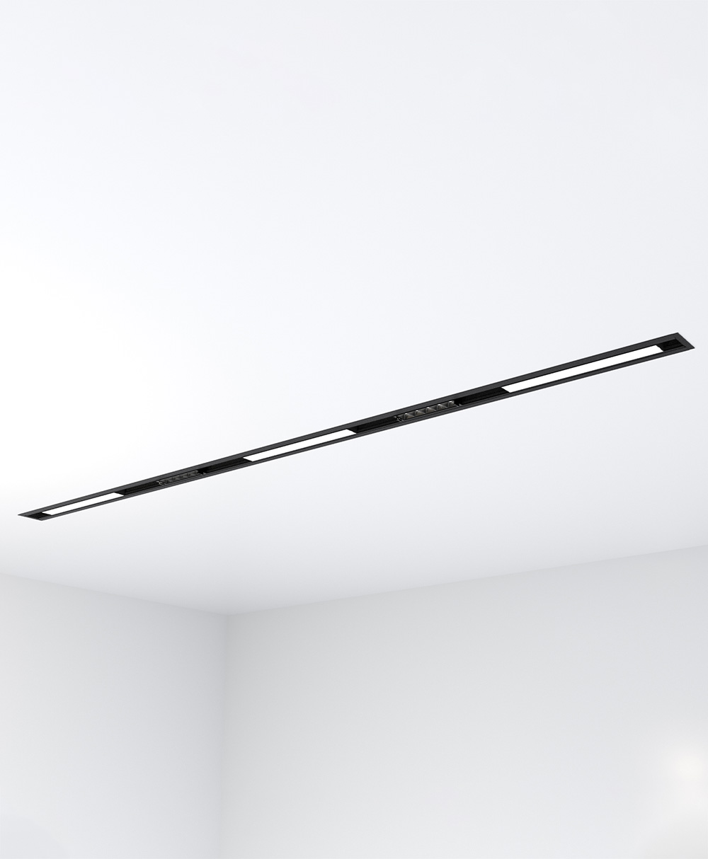 6' Recess-Mount KLICK Track with 3 Solid Lightbars and 2 Multisource Lightbars, 3300 Lumens, 3500 K